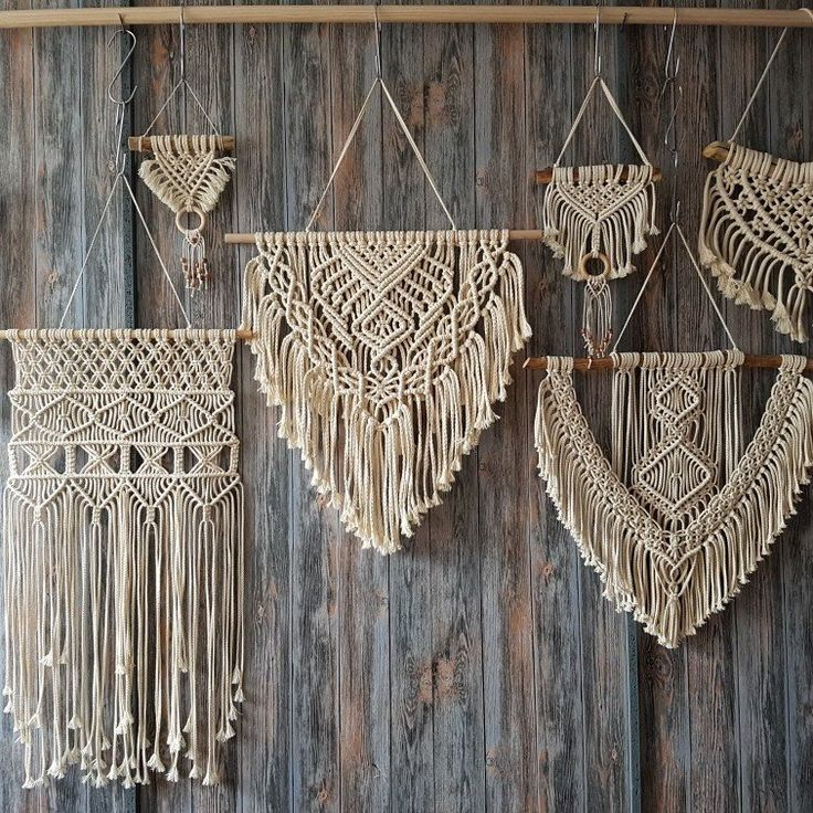 Massive choice of macrame wall hangings, large and small, manufactured from cotton twine and j …