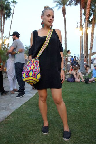 Coachella Fashion! 60+ Rockin' Style Snaps #refinery29  http://www.refinery29.com/2011-coachella-fashion-street-style-at-coachella#slide34  Carry On—Actress Busy Phillips gave her look a pop of color and print with a Wayuu Mochila bag.