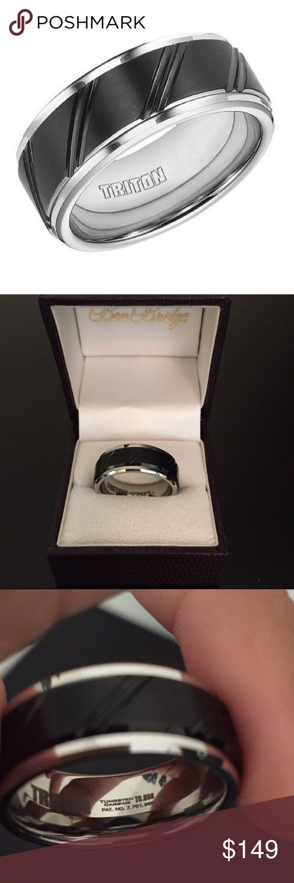 TRITON Black & White Tungsten Carbide Band BRAND NEW NEVER WORN! My boyfriend has never worn it. From TRITON, white tungsten carbide and black tungsten carbide comfort fit band features a diagonal line cut design. All TRITON tungsten carbide bands contain a patented TC.850 formula for a scratch resistant forever polished luster! 😊 Triton Accessories Jewelry