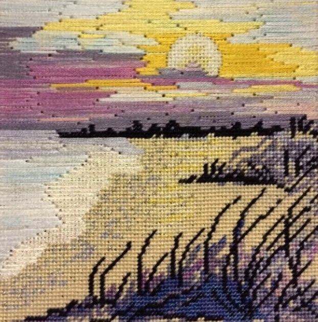 Julie Mar needlepoint seaside landscape, stitched by by Ginger Brennecke