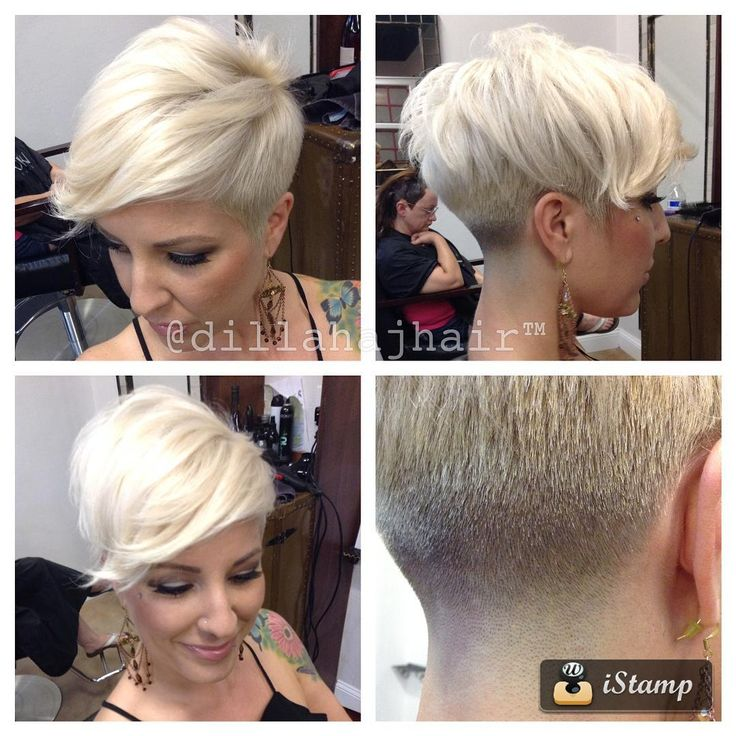 """dillahajhair""""One of my favorite haircuts on one of my favorite people @sandrasimm switch fringe pixie, scissor cut sides with a skin taper in the back. Perfect."""""""