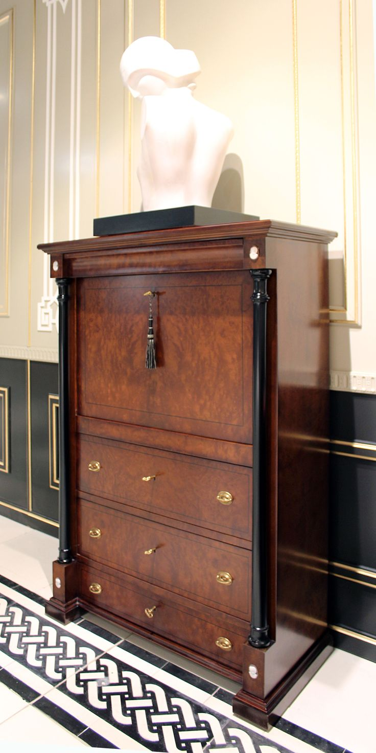 Dresser in myrtle with spotlight and secret drawers, black coloumns inlayes and Cameos in Sardonic handmade  Scrittoio a ribalta con colonne nere e cammei cesellati a mano