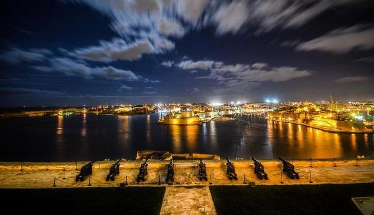 The amazing view from Saluting Battery at night. A beautiful and historical place where you can hold your events in Valletta