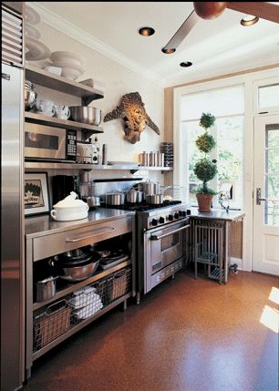 Love The stainless open shelving with storage and bench
