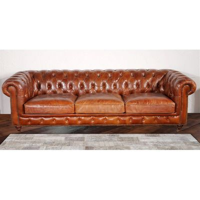 pasargad chester bay tufted genuine leather sofa