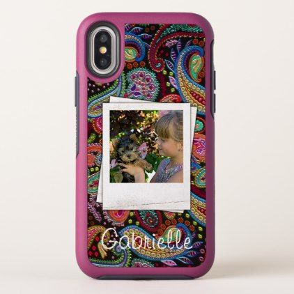 #createyourown #customize - #Fun Custom Paisley Floral Pattern Your Name Photos OtterBox Symmetry iPhone X Case