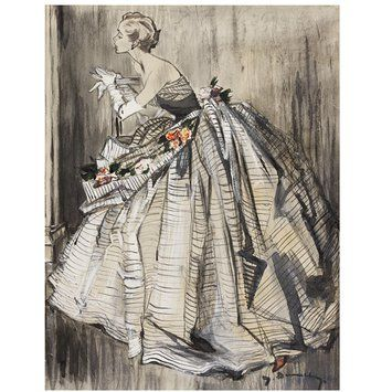 Fashion illustration - Evening gown by Lanvin; illustration by Jean Demarchy for Harper's Bazaar,1955.   Made in 1952 - Body and watercolour, charcoal, Chinese  white, pen and Indian ink on coloured  paper