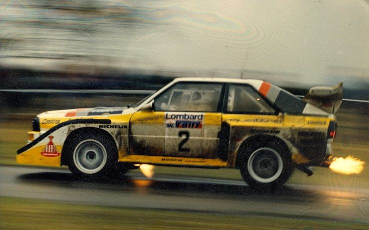 Audi Quattro Coupé (1985) RAC Rally — best done spitting fire.