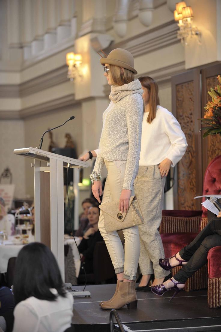 Trend: Neutrals  Model wears #SABA tank, sweater and jeans, #Mimco snood, #Blooms clutch & hat, #Sportscraft boots, Karen Walker at Lifestyle Optical sunglasses and Baku jewellery.   #qvb #karenwalker #fashion