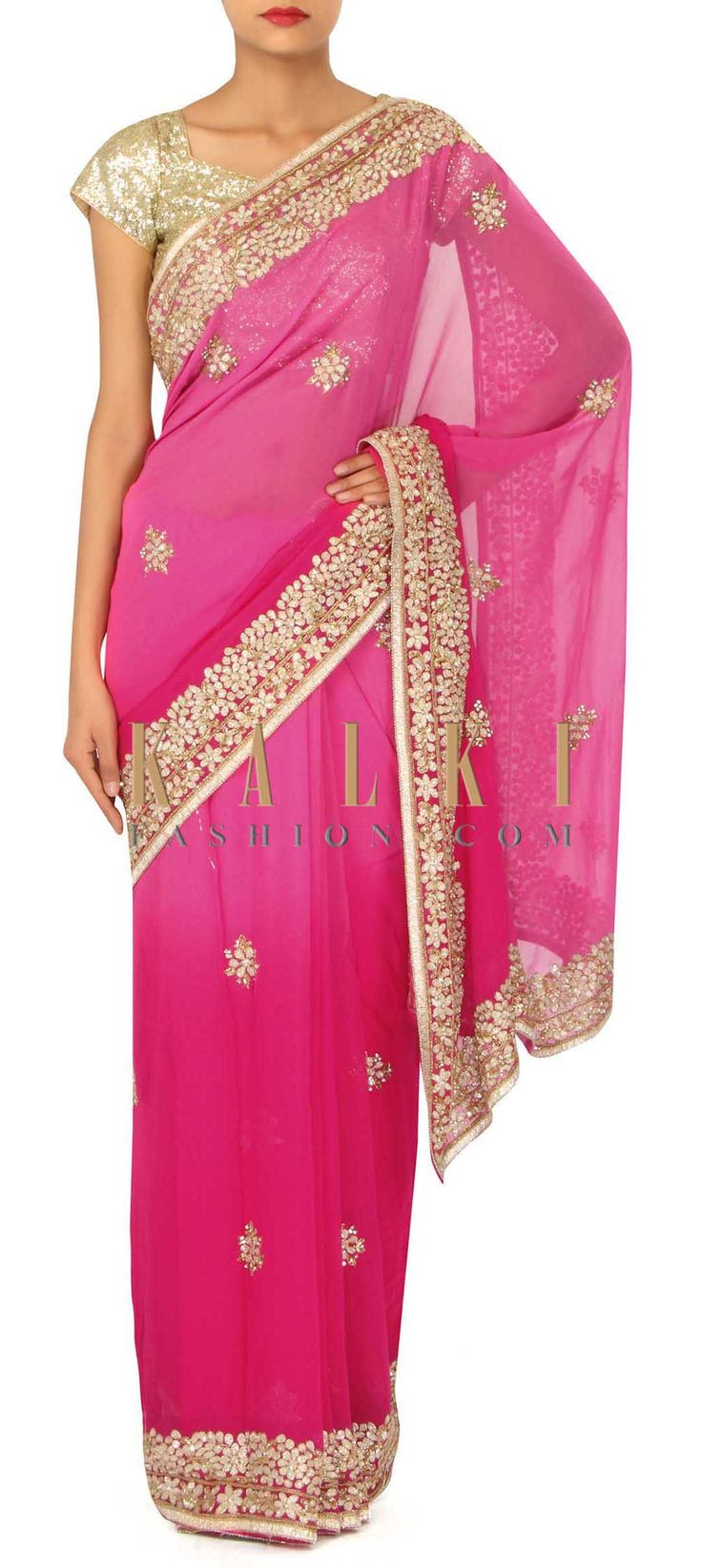 Pink shaded saree in zardosi and kardana border only on Kalki