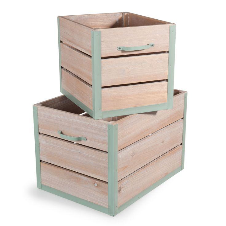 2 caisses en bois L 30 et L 40 cm GARDEN FACTORY | Maisons du Monde