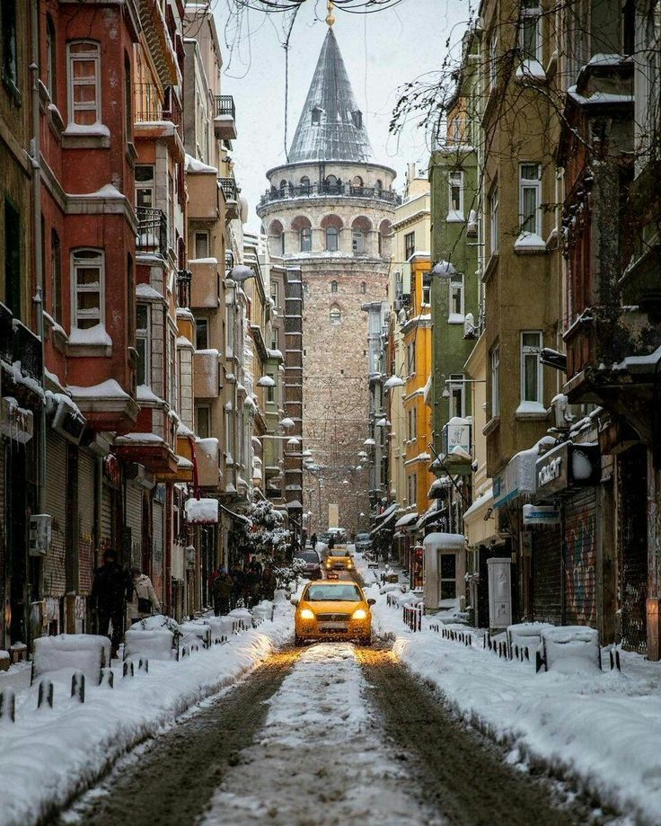 Galata Tower in the snow! ❄️ ❄️ ❄️ | Photo by Onder Turkmen