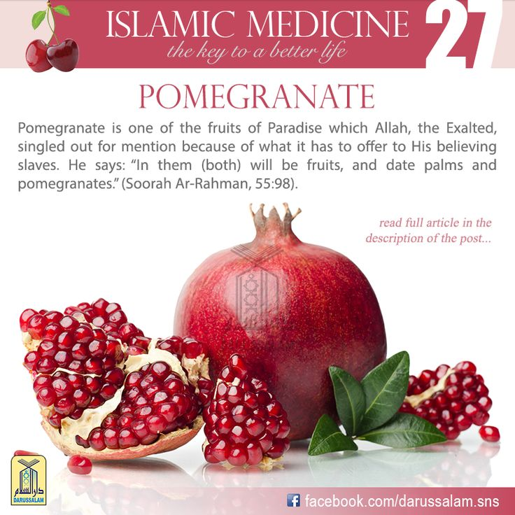 "Ibn Al-Qayyim said, ""Sweet pomegranate is good for the stomach and strengthens it, because it acts as a gentle astringent. It is beneficial for the throat, chest and lungs, and is good for coughs. Its juice acts as a laxative and offers slow nourishment to the body and stimulates sexual desire. It is not good for those who have fever. #DarussalamPublishers #IslamicMedicine #IslamicEBooks #AmazonKindle #KindleStore #BarnesAndNoble"
