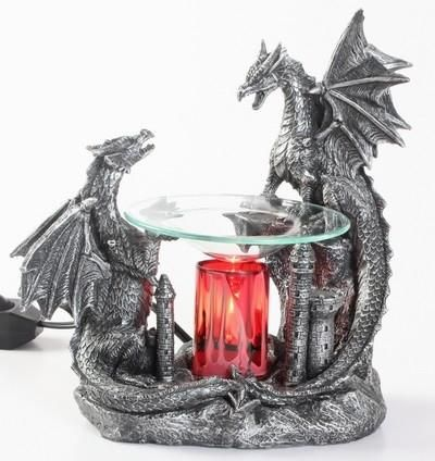 Double Black Dragon polyresin oil warmer. The glass dish holds the scented oil. Red cylinder gives the warmer a unique look when plugged in. 35 watt halogen bul