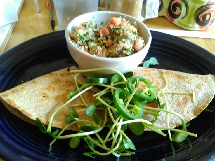 #Vegetarian #quesadillas w/ #grilled #mushrooms #redonions #spinach #wheattortilla #sprouts  AND...  #tabouli w/ #tomatoes #parsley #mint #onion #lemonjuice #cucumbers and #salt  #ItsWhatsForDinner #SSK