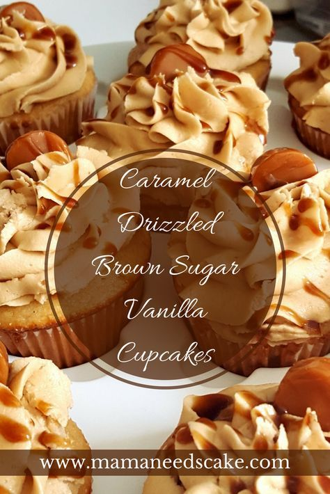 These Caramel Drizzled Brown Sugar Vanilla Cupcakes are made with a very fluffy vanilla base and topped with brown sugar frosting.