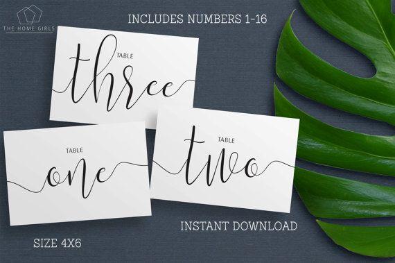 Printable Wedding Table Numbers / Calligraphy / Black and