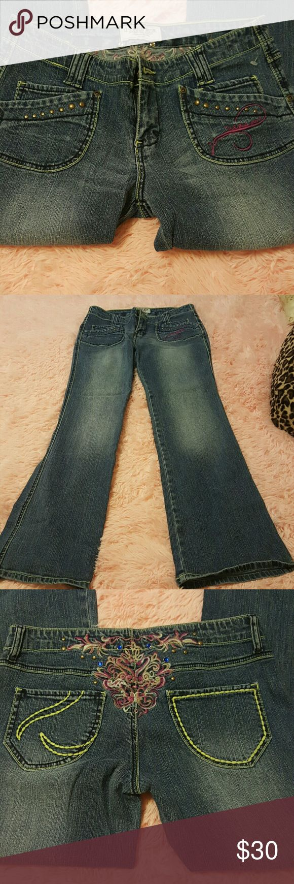 Ladies polo jeans Great,condition  No,defects Size 9/10 Gold studs on front pockets Rhinestones on the back of the jeans polo  Jeans Boot Cut