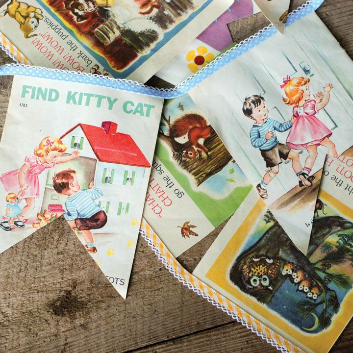 Have some damaged children's books on your hands? Make these sweet bunting, inspired by Ashlee Park's project in the Winter 2016 Issue of GreenCraft Magazine!