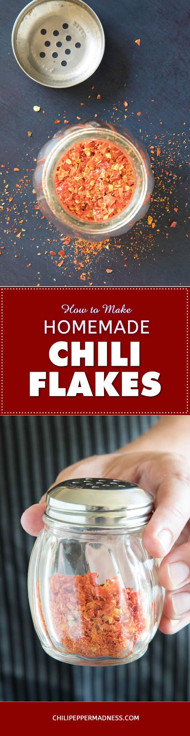How to Make Homemade Chili Flakes – Use your dehydrator (or oven) to make your own chili flakes at home. They're perfect for dashing over pizza or any other food for a bit of zing and flavor. A great way to preserve your pepper harvest.