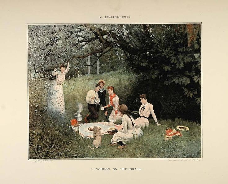 1896 Print Lunch Grass Victorian Picnic M Realier-Dumas - ORIGINAL | eBay