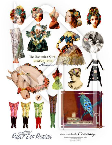 Paper Doll  / Art Doll Passion Digital Collage Sheet by Cemerony, $4.50