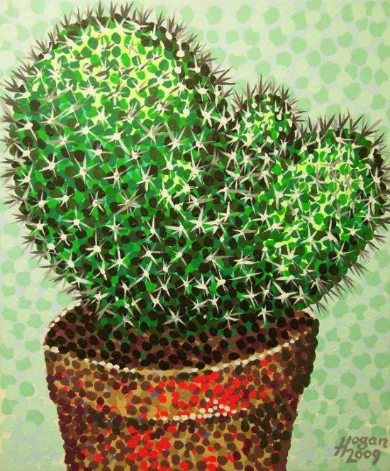 'Cactus' - handpainted acrylic-on-canvas artwork.  #cactus #plant #pot #cacti #needles #art #paintings #artists #green #nagohnala #hoganfinland #painters #irishartists #konst #kunst #arte #society6
