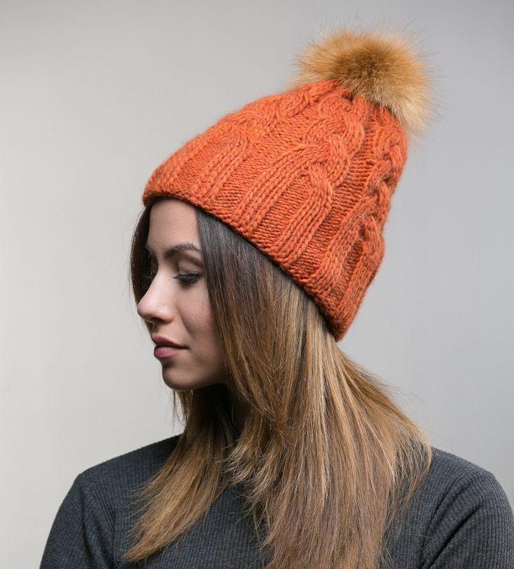 Orange Wool Knitted Fur Pom Pom Hat     #orange #wool #knitted #fur #pompom #hat #fur #hat #haute #style #accessories #fashion