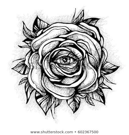 Black Tattoo Rose Flower With The Eye On White Background Tattoo Design Mystic Symbol New School Dotwork Flor Rosa Preta Designs De Tatuagem Tatuagem Braco