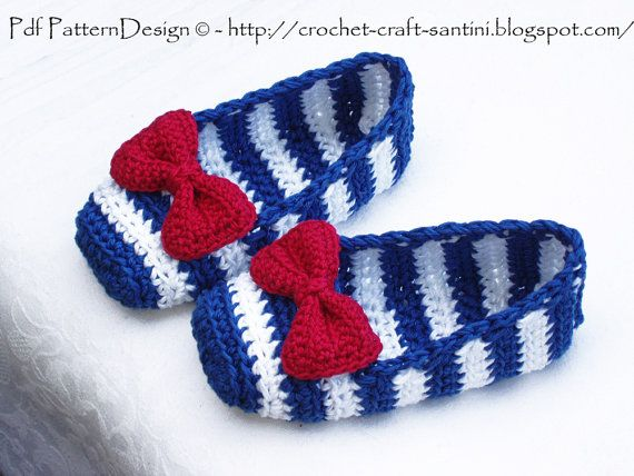 "SAILOR ""SHOES"" with Red Bow - Crochet Pattern - Instant Download - Easy toe up, but like the look"
