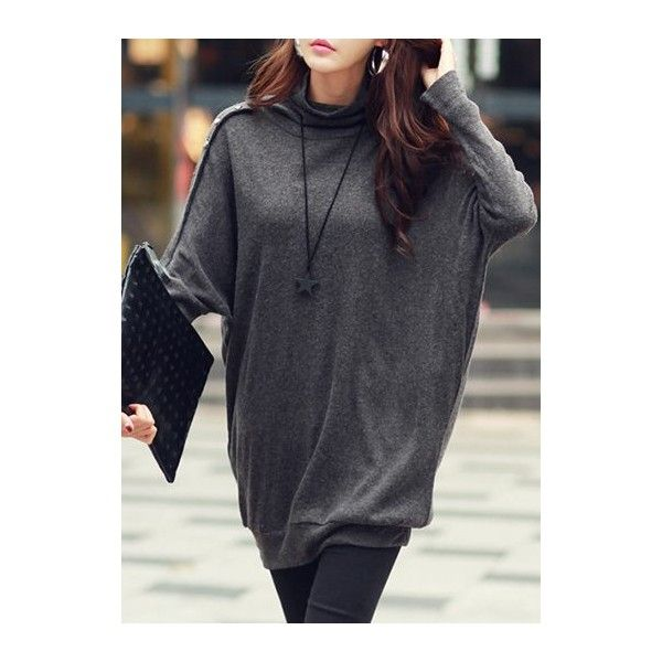 Rotita Turtleneck Dark Grey Batwing Sleeve Loose T Shirt (€22) ❤ liked on Polyvore featuring tops, t-shirts, grey, grey t shirt, print t shirts, long-sleeve crop tops, gray t shirt and long tee