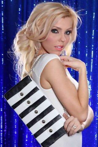 BLACK WHITE FAUX LEATHER STRAP STUDDED FLAP OVER CLUTCH MINI HANDBAG P - viXXen Clothing