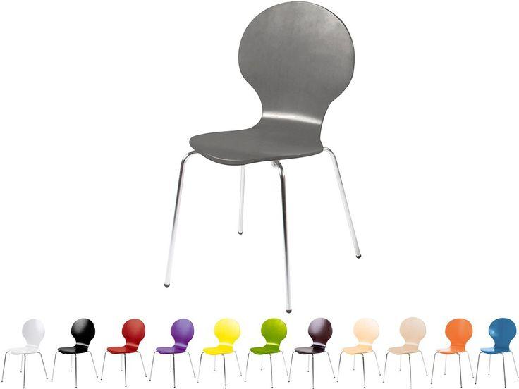 Stapelstuhl Bistrostuhl Stuhl Esszimmerstuhl Küchenstuhl Design Metall Holz stapelbar sehr belastbar Marcus (Grau): Amazon.de: Küche & Haushalt
