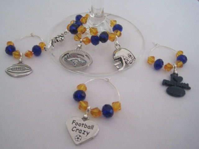 Denver Broncos Football Wine Charms, NFL Wine Charms with Denver Broncos Logo, Orange and Royal Blue Beading, Free Shipping by BeadiTique on Etsy