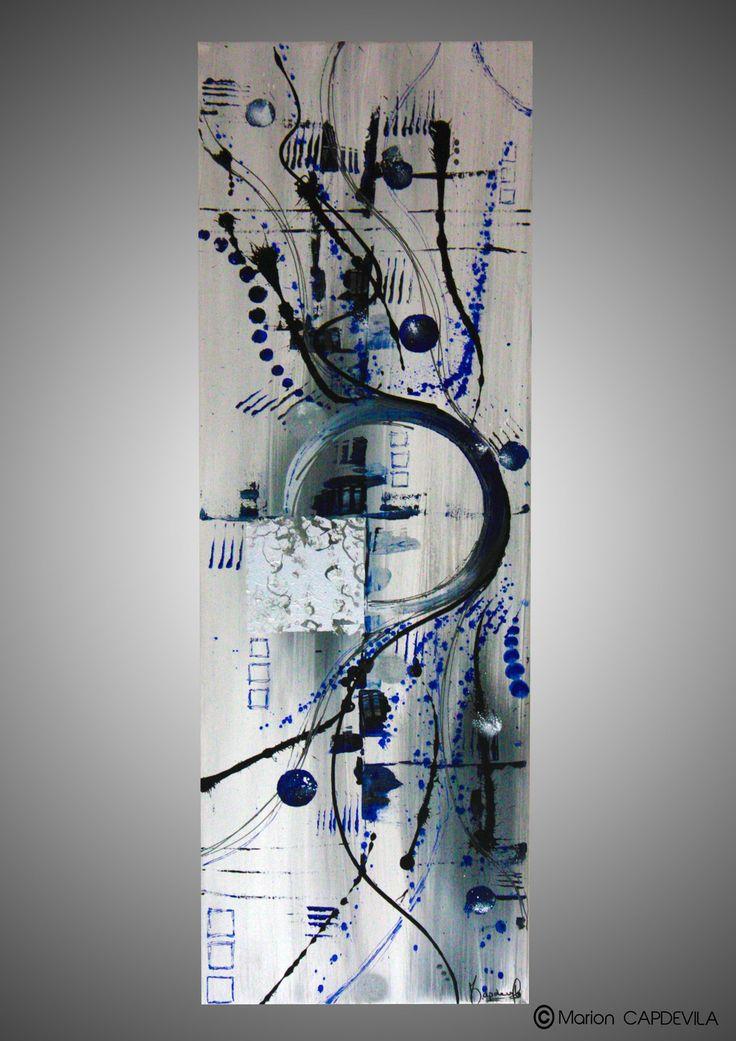 BLUE WAVE tableau peinture acrylique art abtrait moderne : Peintures par mcdesign