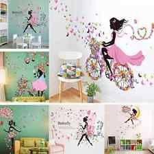 Chica Y Flor extraíble de arte de pared calcomanía Vinilo calcomanía hágalo usted mismo Sala Hogar Murales Decoración