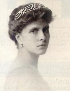 Princess Andrew of Greece and Denmark (born Princess Alice of Battenberg), wearing the Greek Key Tiara