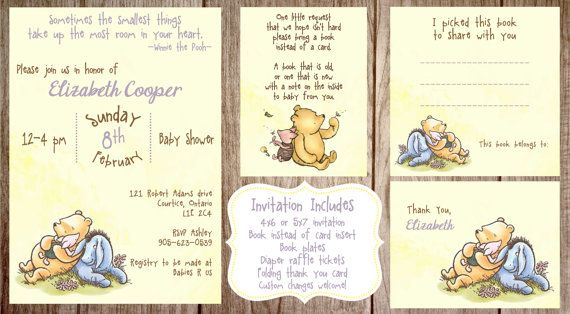 Printable Winnie the Pooh Baby Shower, story book baby shower invitation, Classic Winnie the Pooh Birthday