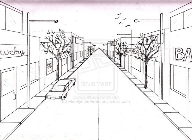 Elements to incorporate in a perspective drawing of a street: cars street lamps