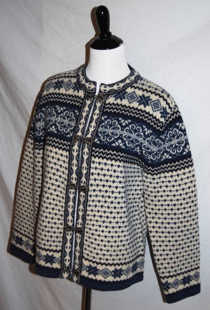 75034ba691f9 Skyr Womens Medium Blue Cream Nordic Fair Isle Long Sleeve Clasps Wool  Sweater  Skyr