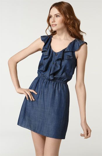 Free shipping and returns on Anlo 'Jordan' Ruffle Neck Denim Dress at Nordstrom.com. Flutter sleeves transform to ruffles along the front of a lightweight denim dress with a decorative button placket and nipped-in elastic waist.