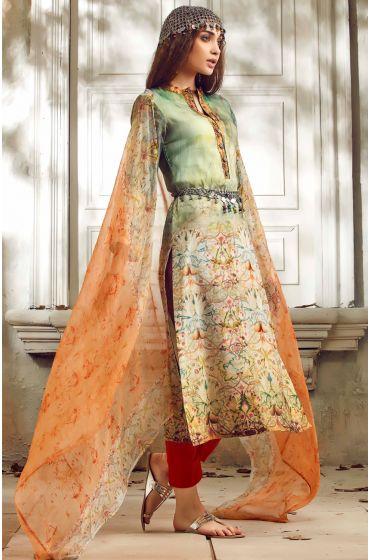 Multi-coloured & Orange Un-stitched Cotton Digital Printed Salwar Suit with Georgette Dupatta - SUM03