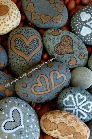 Painted Hearts Rocks # 1 --- also could be put in with the rocks to sign by marian