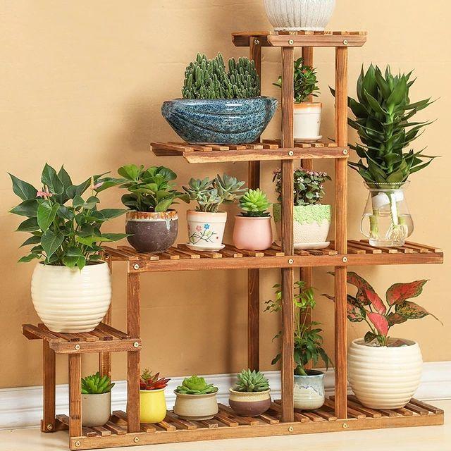 Estante de maceta de madera de 4 niveles para decoración del jardín del hogar planta de Etagere estante de exhibición maceta soporte de jardín de flores cubierta interior al aire libre