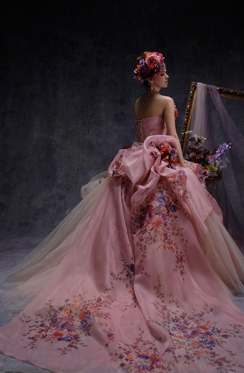 Wedding Dress, Gowns, Pink, Flowers, Floral, Corset, Flower Wreath