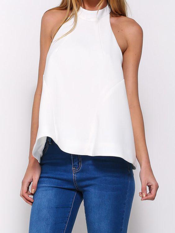 Halter Backless White Tank T-Shirts 12.50