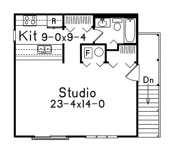 Small Studio Apartment Floor Plans | Parker Studio Apartment Garage Plan  002D-7525 | House