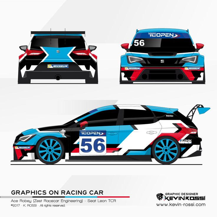 Car livery design for TC Open driver Ace Robey - On Seat Leon TCR. ©2017 - K. ROSSI - All rights reserved.