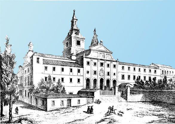 Grabado del antiguo convento de agustinos Recoletos que ocupa en la actualidad la Biblioteca Nacional.