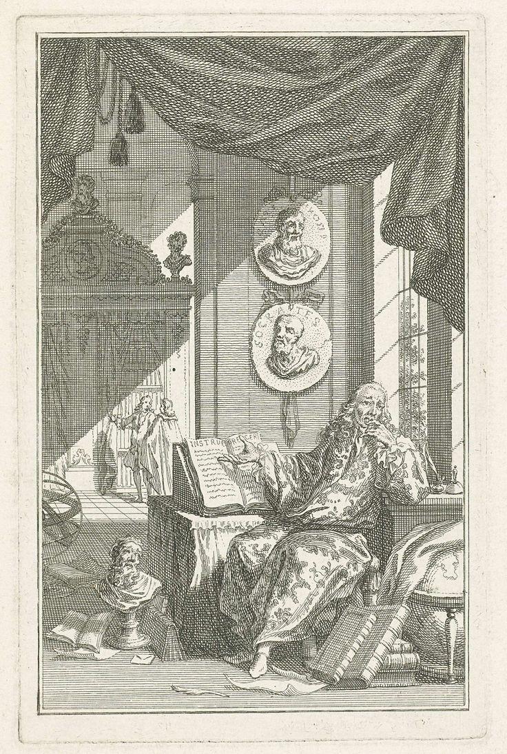 Simon Fokke | Geleerde in studeervertrek, Simon Fokke, 1759 | Een geleerde zit achter een bureau in een studeervertrek en wijst op een opengeslagen boek. Boven zijn bureau hangen twee medaillons met de beeltenissen van filosofen uit de Oudheid. Op de grond rond zijn bureau liggen papieren en boeken en staan een portretbuste en een wereldbol.
